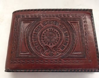 Vintage Tooled Leather Aztec Calendar Wallet Made in Mexico