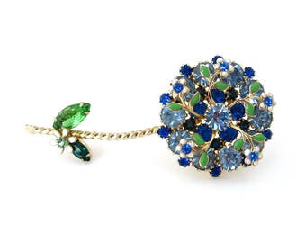 Vintage WEISS Flower Blue Rhinestone Enamel Brooch, Signed Floral Figural Pin, 1960s Costume Jewelry