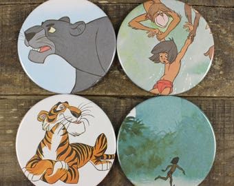 The Jungle Book Disney Kid's Book Mowgli Coaster Set of Four Coasters Vintage Recycled