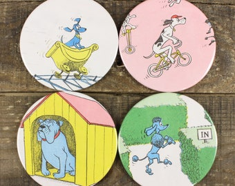 Go Dog Go! Kid's Book Coaster Set of Four Coasters Vintage Recycled Upcycled