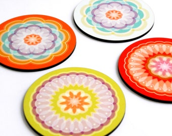 Coaster set of four mandala colorful coaster set,table decor,drink coasters,wood coaster,hostess gift,printed coaster,designed coaster