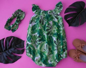 Sunsuit romper playsuit and matching top knot headband for babies and toddlers jungle print green banana palm leaves