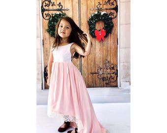 ON SALE Blush Everyday Dress, and Lace, boho flower girl dress, blush bohemian maxi dress for girls, junior bridesmaids dress