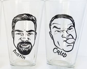 2 Custom Vintage Style Caricature Pint Glasses