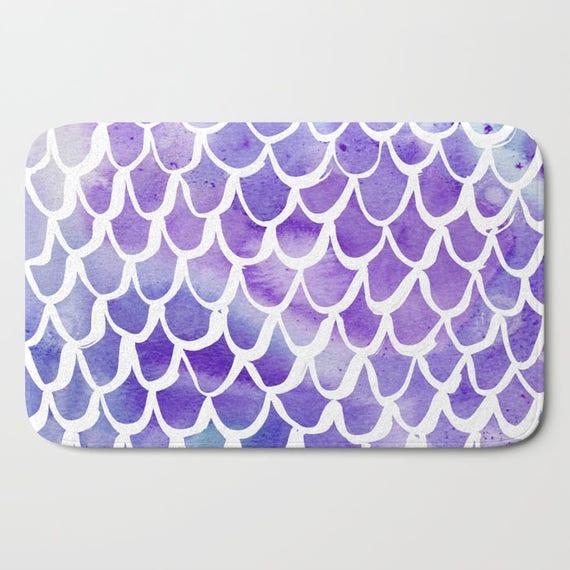 Bath Mat - Purple Bath Mat - Mermaid Bath Mat - Bath Rug - Shower Mat - Watercolor Rug - Purple Rug - Scallop Rug - Lavender Mermaid Rug