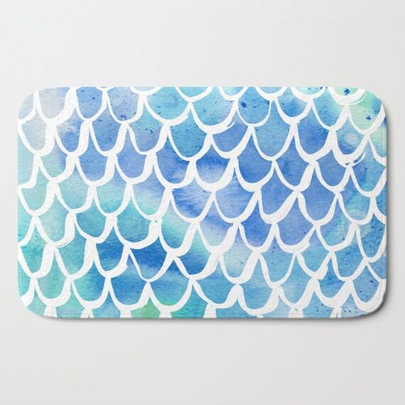 Bath Mat - Blue Bath Mat - Mermaid Bath Mat - Bath Rug - Shower Mat - Watercolor Rug - Blue Rug - Scallop Rug - Turquoise Blue Mermaid Rug