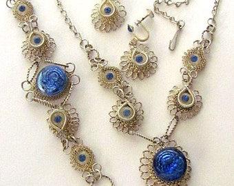 Vintage Hand made Wire Blue Glass Rhinestones Necklace Bracelet clip Earrings set