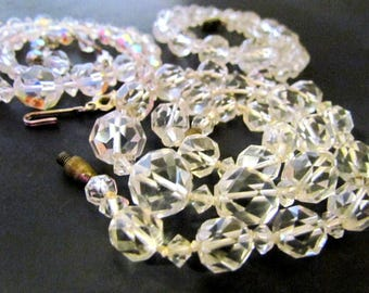 Lot of Three Vintage Faceted Clear Glass Bead Necklaces