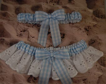 Light Blue Gingham check White Eyelet Lace country outdoor barn Wedding Garter Toss Set