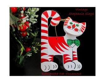 Bobblehead Cat Ornament * Stephanie Siegel * Large Wood Ornamant * Cat Christmas Ornament * 1984