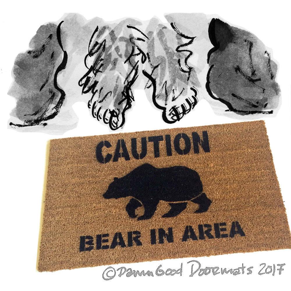 Caution Bear In Area Funny Doormat Welcome Door Mat Eco