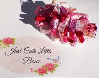 Pink and Red Sparkle  Valentine Funky Loopy Hair Bow