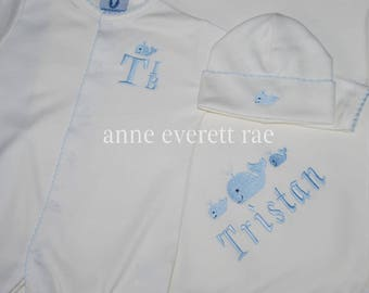 Coming Home Outfit-Unisex Clothes-Unisex Coming Home Outfit-3 Whales Outfit-Gender Neutral Outfit-Personalize Baby Clothes-Shower Gift