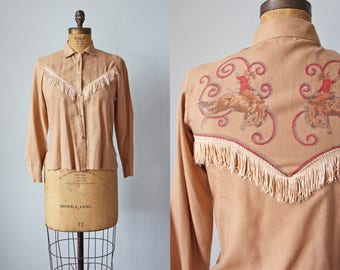 1960s Novelty Print Western Top - 60s Bronco Fringed Shirt - Vintage Cotton Blend Top w Fringe XS S - Busting Leather Blouse