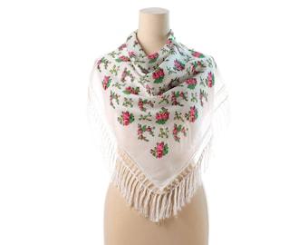 Vintage Floral RUSSIAN Folk Scarf 60s Russian BABUSHKA Siberian Wool FRINGED Shawl White Muffle Red Roses Retro Neckwear Pastoral Neck Scarf