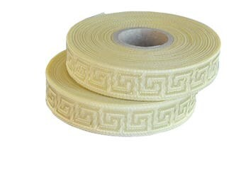 Ivory Satin  Greek Key Jacquard Ribbon  Trim