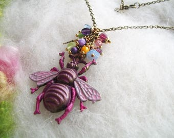 Bee Necklace Bee Jewelry Hand Painted Pink Bronze Bee Charm Steampunk Boho Honey Bee Necklace Colorful Flower Glass Beads