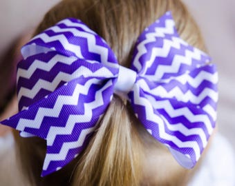 Hair Bow - Purple Chevron Print Pinwheel Hair Bow, Girls Hair Bow, Baby Hair Bow