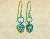 Green niobium earrings - chainmaille earrings - short, petite earrings - hypoallergenic earrings