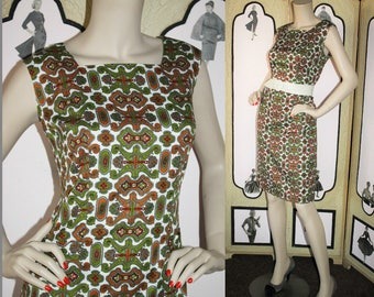 Vintage 60's Dress with Gorgeous Old World Pattern in Rust, Olive, Cranberry, Gray and White. Large L.