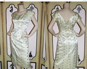 ON SALE 1950's Vintage Cocktail Dress in Cream Embroidered Satin with Asymmetric Waist and Hip Treatment. Small..