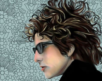 Bob Dylan Portrait Fine Art Poster Print Customize Color and Background 8x10 in Bob Dylan Art Poster Print Music Poster Art Print