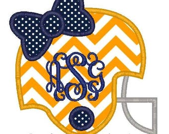 Football Helmet Bow Machine Embroidery Applique Design