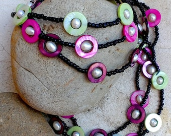 Pearl necklace-'PEARL ISLAND' necklace,seed bead,mother of pearl shell,pearl beads