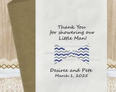 12 Pak Bow Tie Little Lil' Man Theme Candy Buffet Party Favor Bags / Kids Birthday Baby Shower/ Blue Grey Chevron / PERSONALIZED 3 Day Ship