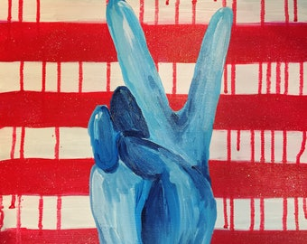 World Peace - Red White and Blue Peace Sign 14 x 14 Acrylic Painting
