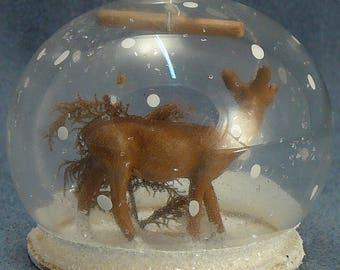 Deer Diorama Globe Ornament  Mica Snow Vintage Christmas Glass Ornament