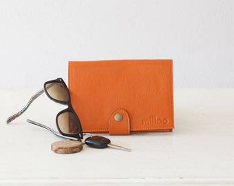Orange leather women wallet, phone wallet clutch wallet large womens wallet bifold phone case foldover wallet - Iole Wallet