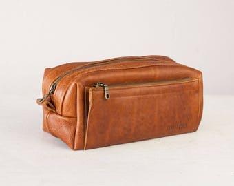 SALE Brown travel storage kit, travel case accessory case toiletry storage organizer shaving kit case - Skiron travel case