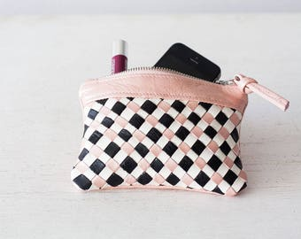 Handwoven pink leather with black and offwhite strips zipper pouch coin purse zipper case small money bag credit card zip - The Leto pouch