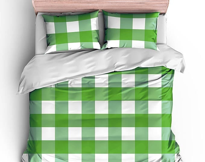 Men's Duvet Set, Boy's Bed Set, Grad Gift, Dorm Decor, Masculine Style Bedding, Plaid Bedroom decor, birthday gift, housewarming gift, check