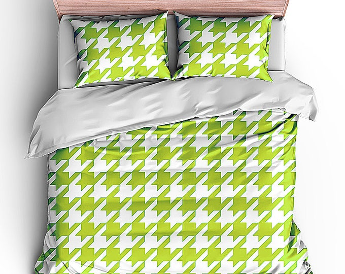Cottage Bed Set, Houndstooth Check Duvet, Bedding Set, Matching Bedroom, Grad Gift, Dorm Decor, Cottage Style, Shabby Cottage, Preppy bed