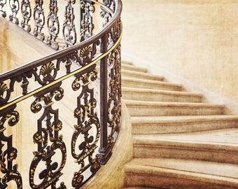 Paris Staircase, Paris Photography Decor, Paris Stairs Photo Print, French Home Decor Print, Classic Parisian Staircase