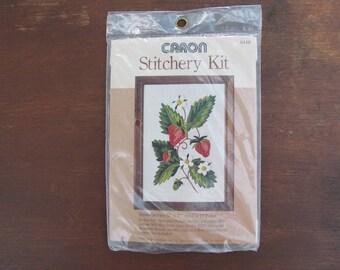 Vintage Strawberries Stitchery Kit, New Old Stock