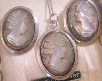 XMAS in JULY SALE 1940's Italian Cameo Pendant Necklace & Earrings Set Sterlinng Silver with Original Box