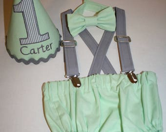 mint cake smash outfit boys first birthday outfit mint green gray 1st birthday hat suspenders diaper cover bow tie birthday hat