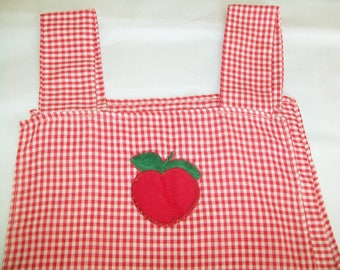 1970s Red Checked Smock Apron, gingham, handmade