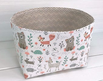 Woodland Nursery Storage Basket Fox Nursery Decor Home Decor Woodland Room Decor Baby Shower Gift Animals Mint Beige Deer Bears Fox Fawn