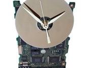This Circuit Board Clock has a Hard Drive Disk as Dial! Retro Clock, Preppie Gift Clock. Modern Clock Got Office Gift Clock?