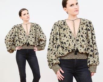 80s Floral Blouse | Boho Gypsy Blouson Top | Long Sleeves | Poet Sleeve Blouse | Neck Tie | Plunging Neckline Top | Tan Black | S M L