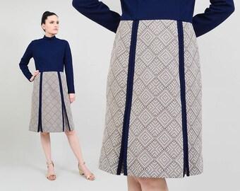60s Navy Blue Knit Dress   Mock Turtleneck Dress   1960s Mod Geometric Dress   Long Sleeve Knee Length Dress Butte Knit Dress   Medium M