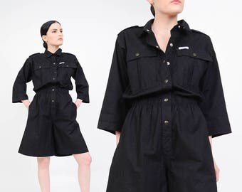80s Black Romper | Utilitarian Jumper | 1980s Cotton Playsuit | One Piece High Waist Shorts Romper | Black Ideas Jumpsuit | Small S