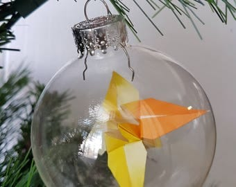 Christmas ornament / Glass ornament / Origami lily ornament / Large custom color flower ornament