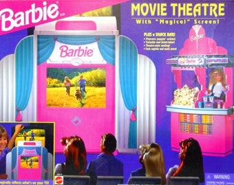 Vintage Barbie Movie Theater with Magical Screen Plus Snack Bar Playset 1995 Mattel Retro 90s Toy