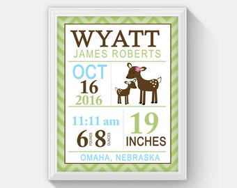 Willow Deer Modern Birth announcement print, Statistic, Personalized Birth Statistic Wall Art, Baby Shower Gift, Nursery Wall Print