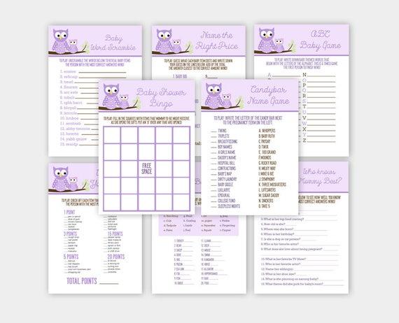 Purple Owl Girl Baby Shower Games 8 Pack Game Bundle Bingo Word